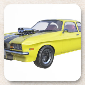1970 Muscle Car Yellow with Black Stripe Coaster