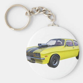 1970 Muscle Car Yellow with Black Stripe Key Ring