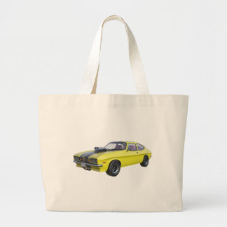 1970 Muscle Car Yellow with Black Stripe Large Tote Bag