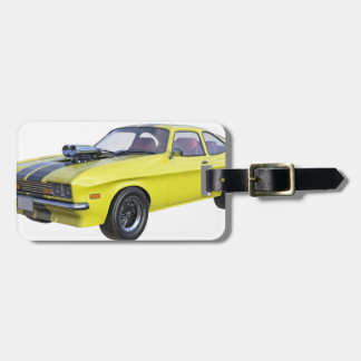1970 Muscle Car Yellow with Black Stripe Luggage Tag