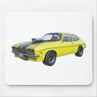 1970 Muscle Car Yellow with Black Stripe Mouse Pad