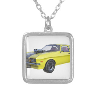 1970 Muscle Car Yellow with Black Stripe Silver Plated Necklace