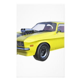 1970 Muscle Car Yellow with Black Stripe Stationery