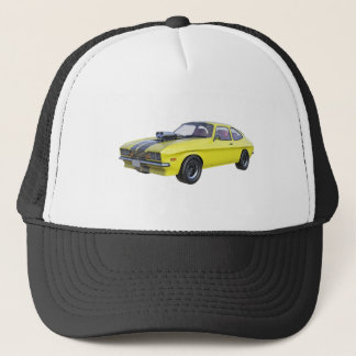 1970 Muscle Car Yellow with Black Stripe Trucker Hat