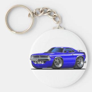 1970 Plymouth Cuda Blue Car Basic Round Button Key Ring