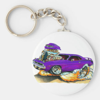 1970 Plymouth Cuda Purple Car Basic Round Button Key Ring