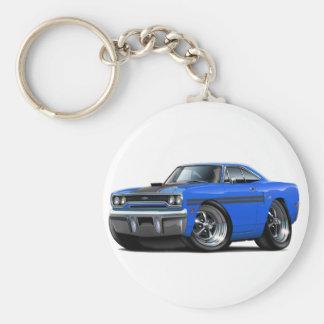 1970 Plymouth GTX Blue-Black Car Basic Round Button Key Ring