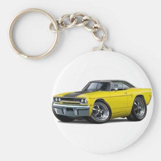 1970 Roadrunner Yellow-Black Stripe Basic Round Button Key Ring