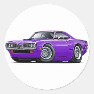 1970 Super Bee Purple-Black C-Stripe Classic Round Sticker