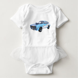 1970's Blue and White Muscle Car Baby Bodysuit