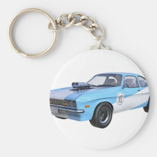 1970's Blue and White Muscle Car Basic Round Button Key Ring