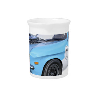 1970's Blue and White Muscle Car Pitcher