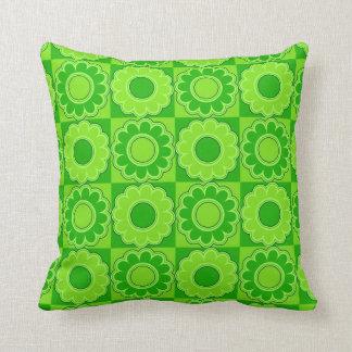 1970s flower power green retro pillows