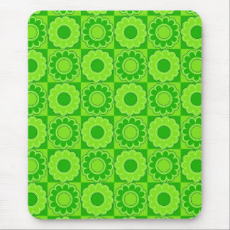 1970s flower power green retro mouse pads