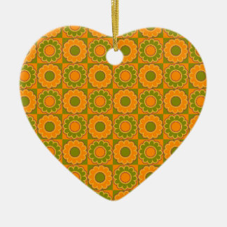1970s flower power orange and olive green retro ornament