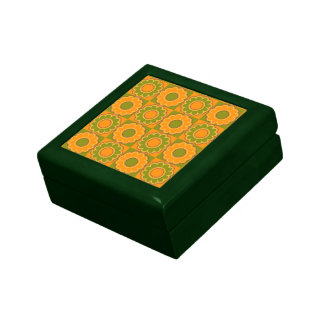 1970s flower power orange and olive green retro keepsake box