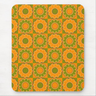1970s flower power orange and olive green retro mousepads