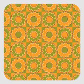 1970s flower power orange and olive green retro square sticker