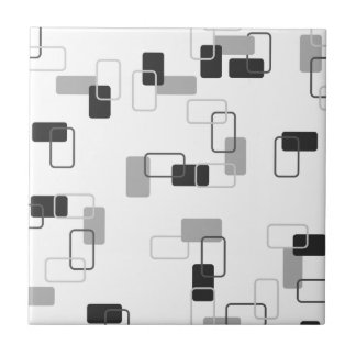1970's Inspired Retro Geometric Monochrome Pattern Ceramic Tile