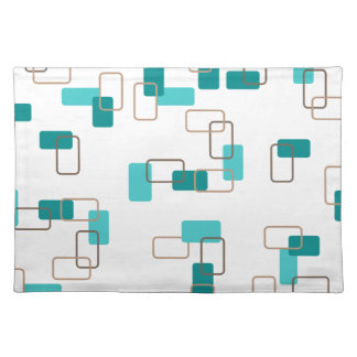 1970's Inspired Retro Geometric Teal Pattern Place Mats