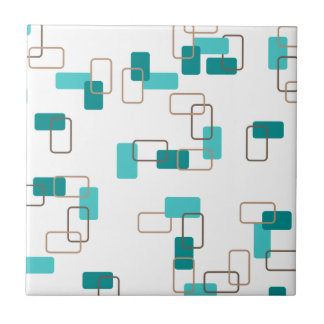 1970's Inspired Retro Geometric Teal Pattern Small Square Tile