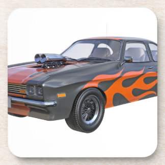 1970's Muscle Car with Orange Flame and Black Coaster