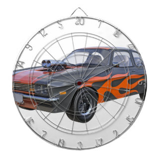 1970's Muscle Car with Orange Flame and Black Dartboard