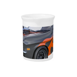 1970's Muscle Car with Orange Flame and Black Drink Pitcher
