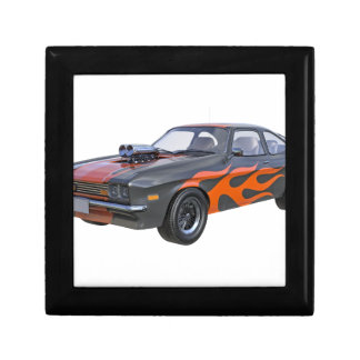 1970's Muscle Car with Orange Flame and Black Gift Box