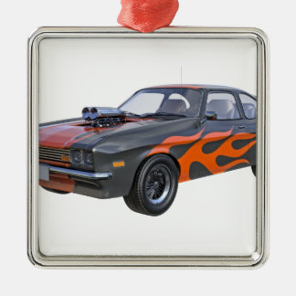 1970's Muscle Car with Orange Flame and Black Metal Ornament