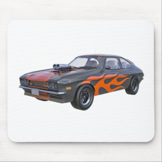 1970's Muscle Car with Orange Flame and Black Mouse Pad