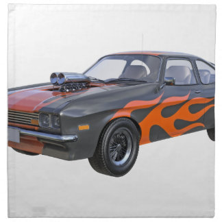 1970's Muscle Car with Orange Flame and Black Napkin