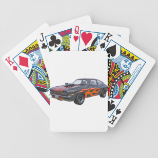1970's Muscle Car with Orange Flame and Black Poker Deck