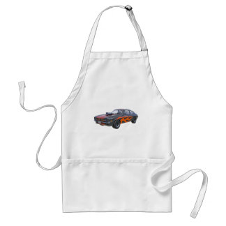 1970's Muscle Car with Orange Flame and Black Standard Apron