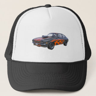 1970's Muscle Car with Orange Flame and Black Trucker Hat