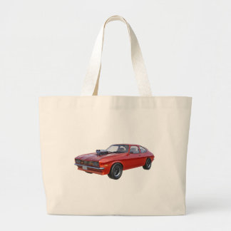 1970's Red Muscle Car Large Tote Bag