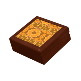 1970s retro vintage flower power brown yellow gift boxes