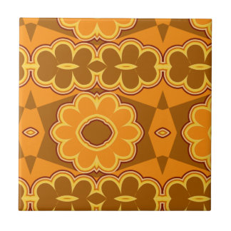 1970s retro vintage flower power brown yellow small square tile