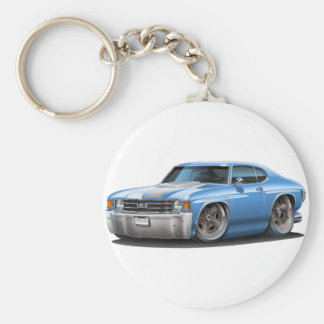 1971-72 Chevelle Lt Blue-White Car Key Ring