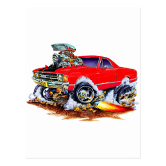 1971-72 El Camino Red-Black 4x4 Monster Truck Postcard