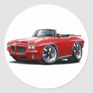 1971-72 GTO Red Convertible Classic Round Sticker