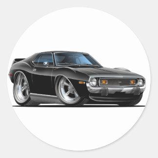 1971-72 Javelin Black Car Classic Round Sticker