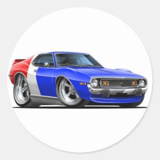 1971-72 Javelin Red White Blue Car Classic Round Sticker