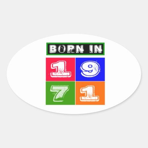 1971 Birthday Designs Oval Stickers