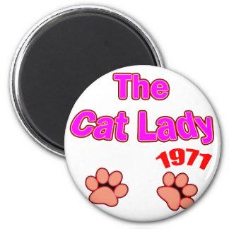 1971 cat lady refrigerator magnets