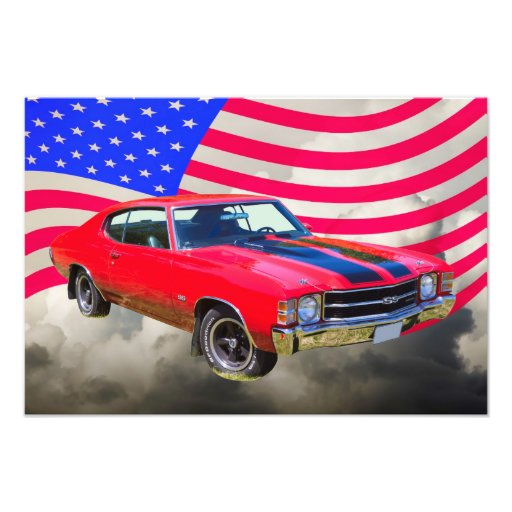 1971 chevrolet Chevelle SS And American Flag Photographic Print