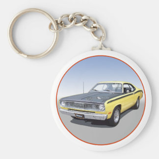 1971 Duster 340 Basic Round Button Key Ring