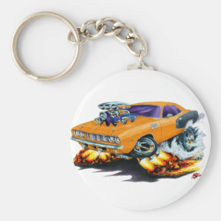 1971 Hemi Cuda Orange Car Basic Round Button Key Ring