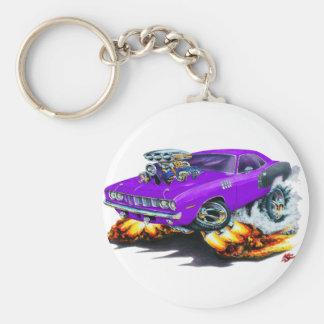 1971 Hemi Cuda Purple Car Basic Round Button Key Ring