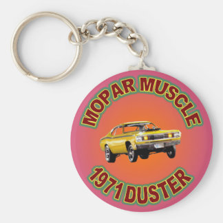 1971 Plymouth Duster Keychain. Basic Round Button Key Ring